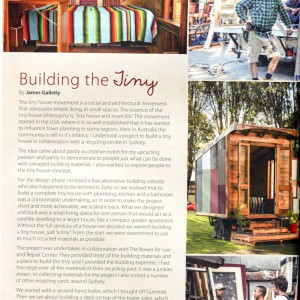Tiny House Article in Junkies magazine