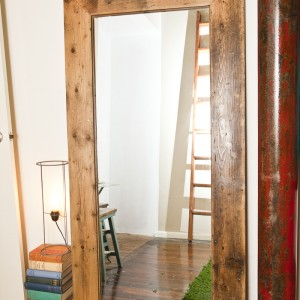Mirrors framed in salvage timbers