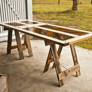Doors upcycled into treslte tables